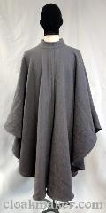 Cloak:3697, Cloak Style:Cape / Ruana, Cloak Color:Slate or dove grey, Fiber / Weave:100% wool, Cloak Clasp:Two snaps, Hood Lining:hoodless, Back Length:44&quot;, Neck Length:24&quot;, Seasons:Spring, Fall, Note:Striped slate grey hoodless ruana<br>style cloak with band collar.<br>Held closed with two sturdy snaps,<br>made from a washed 100% wool,<br>with an authentic wool feel.<br>32&quot; over the shoulder.<br>Dry clean only..