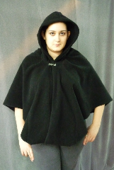Cloak:CC124, Cloak Style:Fuller Half Circle Short with pockets, Cloak Color:Black, Fiber / Weave:Windblock Polar Fleece, Back Length:27.5&quot;, Neck Length:24&quot;, Seasons:Winter, Fall, Spring, Note:This Fuller Half Circle Short Cloak<br>has Pockets!.