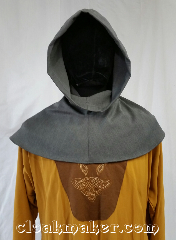 Cloak:H100, Cloak Style:Regular Hood, Cloak Color:Grey, Fiber / Weave:stretch polyester, Hood Lining:Unlined, Back Length:7&quot;, Neck Length:S - neck 22&quot;, Seasons:Spring, Fall, Note:This hood is a mottled grey with<br>lighter and darker greys.<br>Stretch polyester, machine wash<br>on cold, tumble dry.<br>22&quot; neck hole.<br>Pictured on tunic J529<br>Tunic not included..