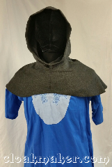 Cloak:H102, Cloak Style:Regular Hood, Cloak Color:Grey tivy houndstooth, Fiber / Weave:100% wool, Hood Lining:Unlined, Back Length:9&quot;, Neck Length:M - neck 24&quot;, Seasons:Spring, Fall, Note:This hood is a grey houndstooth with<br>black and light grey.<br>100% wool, dry clean only.<br>24&quot; neck hole.<br>Pictured on tunic J501<br>Tunic not included..