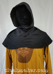 Cloak:H104, Cloak Style:Regular Hood, Cloak Color:Black, Fiber / Weave:ribbed wool, Hood Lining:Unlined, Back Length:9&quot;, Neck Length:S - neck 22&quot;, Seasons:Spring, Fall, Note:This hood is a ribbed black color<br>wool dry clean or carefully hand wash<br>and drip dry.<br>22&quot; neck hole.<br>Pictured on tunic J529<br>Tunic not included..