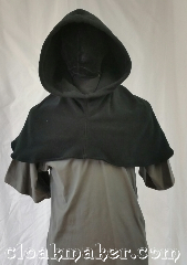 Cloak:H105, Cloak Style:Regular Hood, Cloak Color:Black, Fiber / Weave:Windpro fleece, Hood Lining:Unlined, Back Length:11&quot;, Neck Length:L - neck 26&quot;, Seasons:Fall, Winter, Note:This hood is a black fleece.<br>Wash cold and tumble dry.<br>26&quot; neck hole.<br>Pictured on tunic J526<br>Tunic not included..
