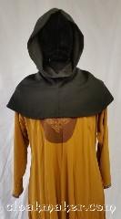Cloak:H109, Cloak Style:Regular Hood, Cloak Color:Green, Fiber / Weave:Wool suiting, Hood Lining:Unlined, Back Length:9&quot;, Neck Length:M - neck 24&quot;, Seasons:Spring, Fall, Note:This hood is a dark pine green.<br>Wool blend suiting, has been treated<br>so that it&#039;s a little shinier and<br>softer than regular wool.<br>Carefully hand wash, hang to dry.<br>24&quot; neck hole.<br>Pictured on tunic J529<br>Tunic not included..