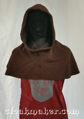 Cloak:H111, Cloak Style:Regular Hood, Cloak Color:Brown, Fiber / Weave:Wool blend, Hood Lining:Unlined, Back Length:9&quot;, Neck Length:L - neck 26&quot;, Seasons:Spring, Fall, Winter, Note:This hood is a heathered brown<br>with some black.<br>Wool blend, dry clean only.<br>26&quot;neck hole.<br>Pictured on tunic J561<br>Tunic not included..