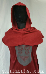 Cloak:H115, Cloak Style:Regular Hood, Cloak Color:Red, Fiber / Weave:Wool blend suiting, Hood Lining:Unlined, Back Length:9&quot;, Neck Length:M - neck 24&quot;, Seasons:Spring, Fall, Note:This hood is a heathered red<br>with minimal grey.<br>Very vintage holiday.<br>Wool blend suiting, has been treated<br>so that it&#039;s a little shinier and<br>softer than regular wool.<br>Dry clean only.<br>24&quot; neck hole.<br>Pictured on tunic J561<br>Tunic not included..
