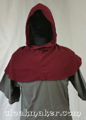Cloak:H116, Cloak Style:Regular Hood, Cloak Color:Red, Fiber / Weave:Wool blend suiting, Hood Lining:Unlined, Back Length:9&quot;, Neck Length:S - neck 23&quot;, Seasons:Spring, Fall, Note:This hood is a cranberry red color.<br>Wool blend suiting, has been treated<br>so that it&#039;s a little shinier<br>and softer than regular wool.<br>Dry clean only.<br>23&quot; neck hole.<br>Pictured on tunic J526<br>Tunic not included..