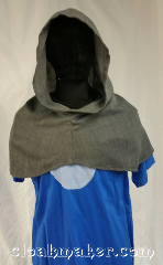 Cloak:H117, Cloak Style:Regular Hood, Cloak Color:Grey, Fiber / Weave:Wool blend suiting, Hood Lining:Unlined, Back Length:10&quot;, Neck Length:XL - neck 28&quot;, Seasons:Spring, Fall, Winter, Note:This hood is a grey color with a slight<br>tweed of dark and light grey<br>going through it.<br>Wool blend suiting, has been treated<br>so that it&#039;s a little shinier and<br>softer than regular wool.<br>Dry clean or hand wash<br>carefully and drip dry.<br>28&quot; neck hole.<br>Pictured on tunic J501<br>Tunic not included..