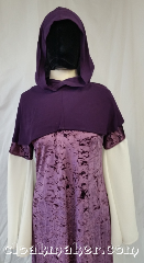 Cloak:H120, Cloak Style:Regular Hood, Cloak Color:Purple, Fiber / Weave:Wool blend suiting, Hood Lining:Unlined, Back Length:9&quot;, Neck Length:M - neck 24&quot;, Seasons:Spring, Fall, Note:This hood is a royal purple color.<br>Wool blend suiting, has been treated<br>so that it&#039;s a little shinier and<br>softer than regular wool.<br>Dry clean only.<br>24&quot; neck hole.<br>Pictured on gown G954<br>Gown not included..