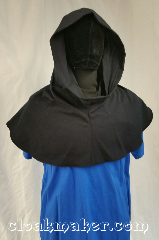 Cloak:H122, Cloak Style:Regular Hood, Cloak Color:Dark Navy Blue, Fiber / Weave:Wool, Hood Lining:Unlined, Back Length:10&quot;, Neck Length:L - neck 26&#039;, Seasons:Spring, Fall, Note:This hood is a dark navy blue,<br>almost black. 100% woo,<br>Dry clean only.<br>26&quot; neck hole.<br>Pictured on tunic J501<br>Tunic not included..