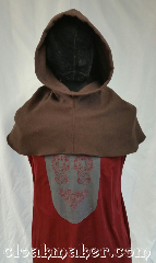 Cloak:H123, Cloak Style:Regular Hood, Cloak Color:Mushroom Brown, Fiber / Weave:Wool blend, Hood Lining:Unlined, Back Length:9&quot;, Neck Length:L - neck 26&quot;, Seasons:Spring, Fall, Winter, Note:This hood is a mushroom brown color<br>with a slight greenish hint to it.<br>Wool blend, carefully handwash, drip dry.<br>26&quot; neck hole.<br>Pictured on tunic J561<br>Tunic not included..