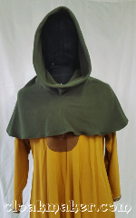 Cloak:H124, Cloak Style:Long point Hood, Cloak Color:Heathered Lodon Green, Fiber / Weave:Fleece, Hood Lining:Unlined, Back Length:12&quot;, Neck Length:L - neck 26&quot;, Seasons:Winter, Fall, Note:This hood is hard to photograph<br>to get the color right.<br>It&#039;s a grey-green, leaning<br>more towards green.<br>Made from fleece,<br>cold water wash, tumble dry.<br>Has a long pointed elven-like hood.<br>26&quot; neck hole.<br>Pictured on tunic J529<br>Tunic not included..