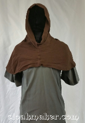 Cloak:H125, Cloak Style:Short point Hood, Cloak Color:Brown, Fiber / Weave:Rayon cotton, Hood Lining:Unlined, Back Length:10&quot;, Neck Length:XL - neck 29&quot;, Seasons:Summer, Spring, Note:This hood is a rich chocolate brown<br>cotton blend with rayon.<br>Prewashed so it will retain it&#039;s size<br>when washed in cold water.<br>Tumble dry.<br>Has a pointed pixie-like hood.<br>29&quot; neck hole.<br>Pictured on tunic J526<br>Tunic not included..