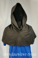 Cloak:H126, Cloak Style:Regular Hood, Cloak Color:Brown, blue, black herringbone, Fiber / Weave:Wool, Hood Lining:Unlined, Back Length:10&quot;, Neck Length:L - neck 26&quot;, Seasons:Spring, Fall, Note:This hood is a chocolate brown tweeded<br>with robin egg blue and<br>black herringbone print.<br>100% wool, dry clean only.<br>26&quot; neck hole.<br>Pictured on tunic J501<br>Tunic not included..