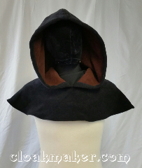 Cloak:H127, Cloak Style:Oversized Hood, Cloak Color:Black with brown inside, Fiber / Weave:Windbloc fleece, Hood Lining:Self lining Brown, Back Length:9&quot;, Neck Length:M - neck 24&quot;, Seasons:Winter, Fall, Note:This hood is black on the outside and<br>brown on the inside with an oversized hood.<br>Made from windbloc fleece<br>machine wash cold on gentle<br>don&#039;t dry clean or use fabric softener.<br>24&quot; neck hole..