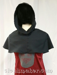 Cloak:H128, Cloak Style:Regular Hood, Cloak Color:Midnight Navy Blue, Fiber / Weave:Wool blend suiting, Hood Lining:Unlined, Back Length:12&quot;, Neck Length:L - neck 26&quot;, Seasons:Spring, Fall, Summer, Note:This hood is a very dark almost<br>black navy blue.<br>Wool blend suiting, has been<br>treated so that it&#039;s a little shinier<br>and softer than regular wool.<br>Machine washable on delicate cycle.<br>26&quot; neck hole.<br>Pictured on tunic J561,<br>tunic not included..