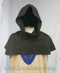 Cloak:H129, Cloak Style:short point, Cloak Color:Heathered Dark Brown, Fiber / Weave:100% wool, Hood Lining:unlined, Back Length:10&quot;, Neck Length:L - neck 26&quot;, Seasons:Spring, Summer, Fall, Note:This hood is a Heathered Dark Brown<br>color with a pointy hood.<br>Machine wash warm on delicate cycle,<br>tumble dry on low.<br>26&quot; neck hole. Pictured on tunic J559,<br>tunic not included..