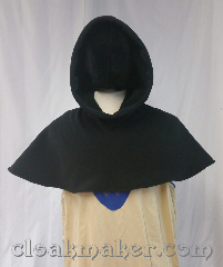 Cloak:H130, Cloak Style:Regular Hood, Cloak Color:Black, Fiber / Weave:WindPro Fleece, Hood Lining:self lined black sherpa texture, Back Length:10.5&quot;, Neck Length:XL - neck 28&quot;, Seasons:Southern Winter, Spring, Fall, Note:This hood is made from black<br>WindPro Fleece with a<br>sherpa texture lining.<br>Machine wash cold on gentle,<br>don&#039;t dry clean or use fabric softener.<br>28&quot; neck hole.<br>Pictured on tunic J559,<br>tunic not included..