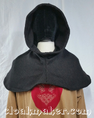 Cloak:H135, Cloak Style:Regular Hood, Cloak Color:Black and brown twill, Fiber / Weave:100% wool, Hood Lining:unlined, Back Length:9&quot;, Neck Length:XL - neck 28&quot;, Seasons:Southern Winter, Fall, Spring, Note:This hood is made from a double layer<br>of black and brown 100% wool twill.<br>Dry clean only. 28&quot; neck hole.<br>Pictured on tunic J492, tunic not included..