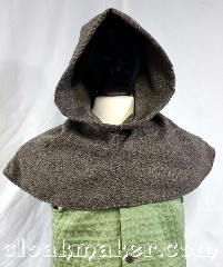 Cloak:H136, Cloak Style:long point, Cloak Color:Basket weave grey, tan, black, Fiber / Weave:100% wool, Hood Lining:unlined, Back Length:11&quot;, Neck Length:L - neck 26&quot;, Seasons:Spring, Fall, Note:This hood is made from 100% wool<br>in a basket weave grey, tan,<br>black, verigated colors.<br>It has a pointy style hood.<br>Dry clean only. 26&quot; neck hole.<br>Pictured on tunic J570,<br> tunic not included..