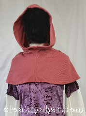 Cloak:H23, Cloak Style:Regular Hood, Cloak Color:Dusty Pink, Fiber / Weave:Wool blend, Hood Lining:Unlined, Back Length:9&quot;, Neck Length:S - neck 22&quot;, Seasons:Spring, Fall, Note:This hood is a dusty rose or peony color.<br>Wool blend, hand wash carefully<br>and drip dry or dry clean.<br>22&quot; neck hole.<br>Pictured on gown G954,<br>gown not included..