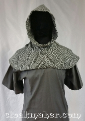 Cloak:H54, Cloak Style:Regular Hood, Cloak Color:Black White Chevron, Fiber / Weave:Wool, Hood Lining:Unlined, Back Length:8&quot;, Neck Length:S - neck 22&quot;, Seasons:Spring, Fall, Note:This hood has a black and white<br>chevron print.<br>100% wool, dry clean only.<br>22&quot; neck hole.<br>Pictured on tunic J526,<br>tunic not included..
