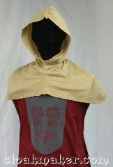 Cloak:H70, Cloak Style:Regular Hood, Cloak Color:Tan/Khaki, Fiber / Weave:Cotton, Hood Lining:Unlined, Back Length:10&quot;, Neck Length:XS - neck 20&quot;, Seasons:Spring, Summer, Note:This youth size hood is a<br>desert sand color.<br>Made from cotton, machine wash<br>cold, tumble dry. 20&quot; neck hole.<br>Pictured on tunic J561<br>Tunic not included..