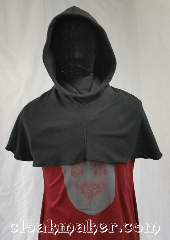 Cloak:H92, Cloak Style:Regular Hood, Cloak Color:Black, Fiber / Weave:Microfleece, Hood Lining:Unlined, Back Length:11&quot;, Neck Length:M - neck 24&quot;, Seasons:Spring, Fall, Note:This hood is a lightweight black fleece.<br>Nice for blocking wind.<br>Machine wash in cold water, tumble dry.<br>24&quot; neck hole.<br>Pictured on tunic J561<br>Tunic not included..
