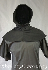 Cloak:H95, Cloak Style:Regular Hood, Cloak Color:Grey, Fiber / Weave:Wool blend suiting, Hood Lining:Unlined, Back Length:8&quot;, Neck Length:S - neck 22&quot;, Seasons:Spring, Fall, Note:This hood is dark mottled grey with<br>minimal amounts of lighter<br>shades of grey.<br>Wool blend suiting, has been treated<br>so that it&#039;s a little shinier and<br>softer than regular wool.<br>Dry clean only.<br>22&quot; neck hole.<br>Pictured on tunic J526<br>Tunic not included..