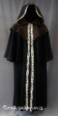 Cloak:W141, Cloak Style:Sleeveless Coat with hood and 14&quot; mantle<br>trimmed with Celtic Beasties, Narrow silver/gold, Cloak Color:Black with Brown mantle and hood<br>trimmed with Celtic Beasties, Narrow silver/gold, Fiber / Weave:Winter Weight woven Wool, Cloak Clasp:Heavy Snaps, Hood Lining:Unlined, Back Length:53&quot;, Neck Length:22.5&quot;, Seasons:Fall, Spring, Southern Winter, Winter.