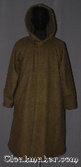 Cloak:W163, Cloak Style:Coat / Robe, Cloak Color:Olive Green, Fiber / Weave:Polyester fleece, Cloak Clasp:6 hidden snaps, Hood Lining:Unlined, Back Length:43&quot; back<br>44&quot; chest<br>34&quot; sleeve, Seasons:Southern Winter, Fall, Spring, Note:A warm olive fleece coat with cuffs<br>and a snap button front.<br>Can be used indoors or outdoors.<br>Machine wash cold gentle tumble dry.