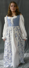 "Bodice Gown ID:B226, Bodice Color:French Blue, Bodice Fiber:Cotton, Bodice Style/ Closure:Irish dress, lace-up front, Skirt Color:White with french blue floral print, Skirt Fiber:Cotton linenChest Measurement:28"", Length:54""."
