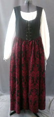 "Bodice Gown ID:B249, Bodice Color:black, Bodice Fiber:cotton twill, Bodice Style/ Closure:Irish dress, lace-up front, Skirt Color:Black with red formal floral pattern, Skirt Fiber:Sueded Polyester MoleskinChest Measurement:42"", Length:57""."