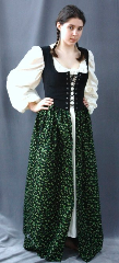 "Bodice Gown ID:B255, Bodice Color:black, Bodice Fiber:cotton duck, Bodice Style/ Closure:irish dress, lace-up front, Skirt Color:Black, and shades of green, Skirt Fiber:cottonChest Measurement:36"", Length:52.5""."