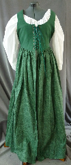 "Bodice Gown ID:B280, Bodice Color:Deep Sea Green, Bodice Fiber:Cotton twill, Bodice Style/ Closure:Irish dress, lace-up front, Skirt Color:dark sea green patterning on light green background, Skirt Fiber:CottonChest Measurement:40"", Length:53""."