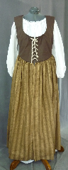 "Bodice Gown ID:B287, Bodice Color:Chocolate Brown, Bodice Fiber:Cotton, Bodice Style/ Closure:Irish dress, lace-up front, Skirt Color:Golden tan with vertical chocolate brown stripes, Skirt Fiber:CottonChest Measurement:46"", Length:56""."