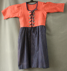 "Bodice Gown ID:B291, Bodice Color:Salmon, Bodice Fiber:Linen, Bodice Style/ Closure:Child's Bodice Dress, Skirt Color:Navy patterned skirt, Skirt Fiber:LinenChest Measurement:23"", Length:25""."