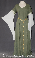 Gown ID:G396, Gown Color:Green, Style:12th Century<br>(shown with<br>Rosett Belt Item #BT3849 sold separately), Sleeve:Long drop sleeve White organza, Trim:Elizabethan Floral Gold & Green, Neckline Type:V-Neck, Fabric:Linen<br>Machine washable, Sleeve Length:33&quot;, Back Length:55&quot;.