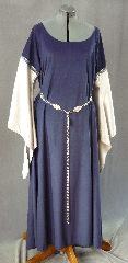 Gown ID:G405, Gown Color:Navy Blue, Style:12th Century, Sleeve:Long Drop Sleeve in silver polyester satin charmeuse<br>with Silver Blue Running Vine trim at bicep, Trim:Silver Blue Running Vine, Neckline Type:Scoop, Fabric:Polyester Thin Velour, Sleeve Length:32&quot;, Back Length:60&quot;.
