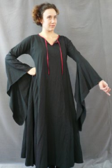 "Gown ID:G498, Gown Color:Black, Style:12th Century, Sleeve:Long drop sleeve, Trim:red bias tape ties, Neckline Type:Keyhole with red bias tape ties, Fabric:Cotton Lycra Blend, Sleeve Length:30"", Back Length:50""."