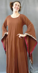 "Gown ID:G502, Gown Color:Cinnamon Brown, Style:12th Century, Sleeve:Long drop sleeve, Trim:Gold/Blue/Yellow/Red Medallion, Neckline Type:Scoop, Fabric:Rayon Challis, Sleeve Length:29.5"", Back Length:52""."