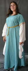 "Gown ID:G538, Gown Color:Dusty Turquoise, Style:12th Century, Sleeve:Long Drop Sleeve in white cotton, Trim:Wide Double Medallion at bicep, Neckline Type:Scoop, Fabric:Linen, Sleeve Length:30"", Back Length:58""."