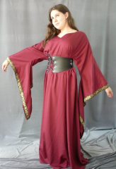 "Gown ID:G546, Gown Color:Maroon, Style:12th Century, Sleeve:Long drop sleeve, Trim:Hybrid Medallion at edge, Neckline Type:Sweetheart V, Fabric:Rayon Polyester, Sleeve Length:31"", Back Length:58.5""."