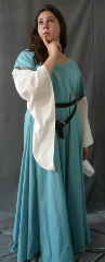 "Gown ID:G551, Gown Color:Dusty Turquoise, Style:12th Century, Sleeve:Long drop sleeve, Trim:Narrow Chevron at bicep, Neckline Type:Sweetheart V, Fabric:Linen / Cotton, Sleeve Length:30.5"", Back Length:56.5""."