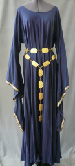 "Gown ID:G561, Gown Color:Navy Blue, Style:12th Century, Sleeve:Long drop sleeve, Trim:Floral, Neckline Type:Scoop, Fabric:Rayon/Polyester Twill, Sleeve Length:29"", Back Length:51.5""."