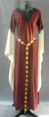 Gown ID:G580, Gown Color:Rust, Style:12th Century, Sleeve:Long drop sleeve in natural cotton muslin<br>Fantasia, Grey/Rust trim at bicep, Trim:Fantasia, Grey/Rust at bicep, Neckline Type:Keyhole with black contrast border, Fabric:Rayon Linen, Sleeve Length:29&quot;, Back Length:55&quot;.