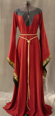 "Gown ID:G581, Gown Color:Brick Red, Style:12th Century, Sleeve:Long drop sleeve, Trim:Simply Paisley, Neckline Type:Keyhole with contrast fabric border, Fabric:Tencel, Sleeve Length:31"", Back Length:57""."