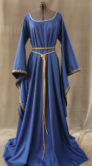 "Gown ID:G582, Gown Color:Royal Blue, Style:12th Century, Sleeve:Long drop sleeve, Trim:Silver Blue Running Vine, Neckline Type:Scoop with Silver braid at edge, Fabric:Rayon Polyester, Sleeve Length:30"", Back Length:61""."