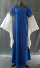 "Gown ID:G588, Gown Color:Bright Medium Blue, Style:12th Century, Sleeve:Long drop sleeve in white cotton with Byzantine Circles trim at bicep, Trim:byzantine circles trim at bicep, Neckline Type:Sweetheart V, Fabric:Cotton Lycra, Sleeve Length:30"", Back Length:58""."