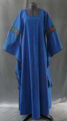 "Gown ID:G591, Gown Color:Blue, Style:12th Century, Sleeve:Long drop sleeve with really pretty rose trim at bicep and black bias tape at edge, Trim:rose trim at bicep, black bias tape at edge, Neckline Type:Square, Fabric:Linen, Sleeve Length:27"", Back Length:55""."