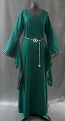 "Gown ID:G595, Gown Color:Emerald Green, Style:12th Century, Sleeve:Long drop sleeve with black/silver/green Mongol Knot Trim at edge, Trim:Mongol Knot trim - black/silver/green, Neckline Type:Sweetheart V neck, Fabric:Rayon Poly Twill, Sleeve Length:31"", Back Length:56""."